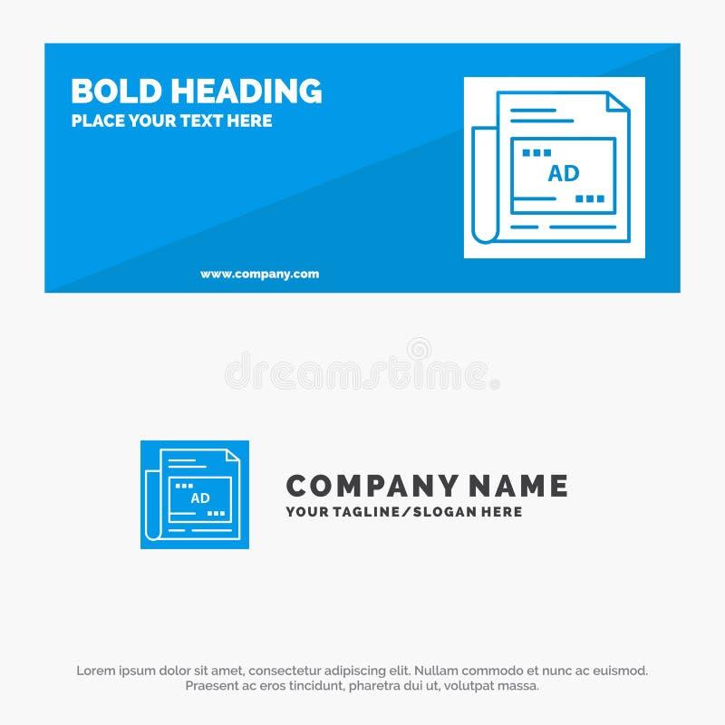 Periódico, anuncio, papel, bandera sólida y negocio Logo Template de la página web del icono del título libre illustration