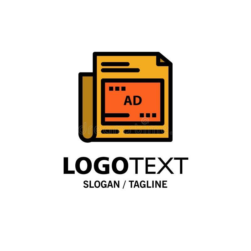 Periódico, anuncio, papel, negocio Logo Template del título color plano libre illustration