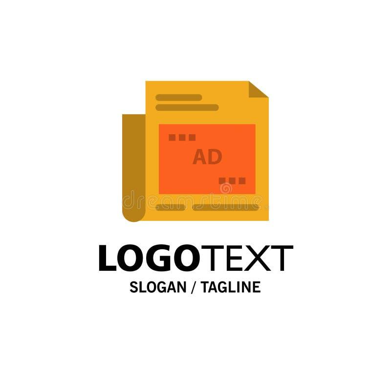 Periódico, anuncio, papel, negocio Logo Template del título color plano stock de ilustración