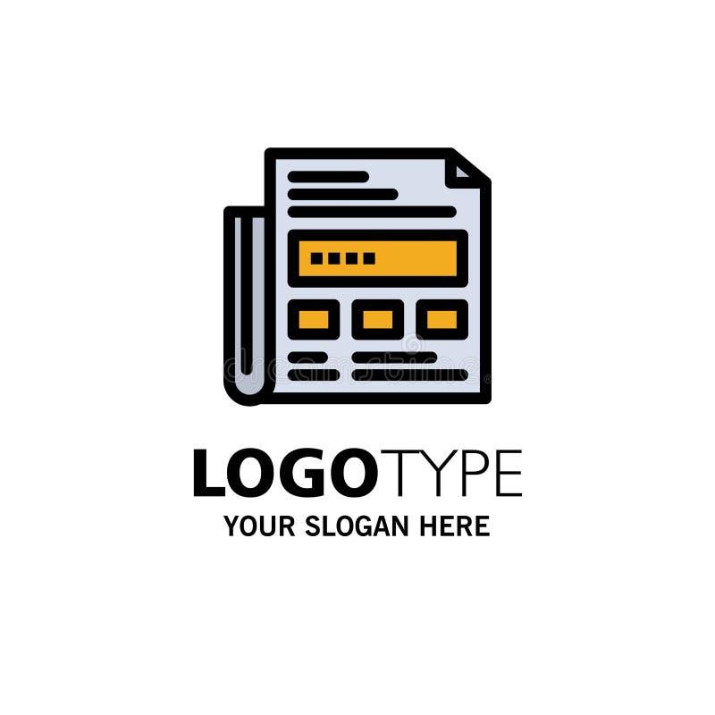 Periódico, anuncio, papel, negocio Logo Template del título color plano ilustración del vector