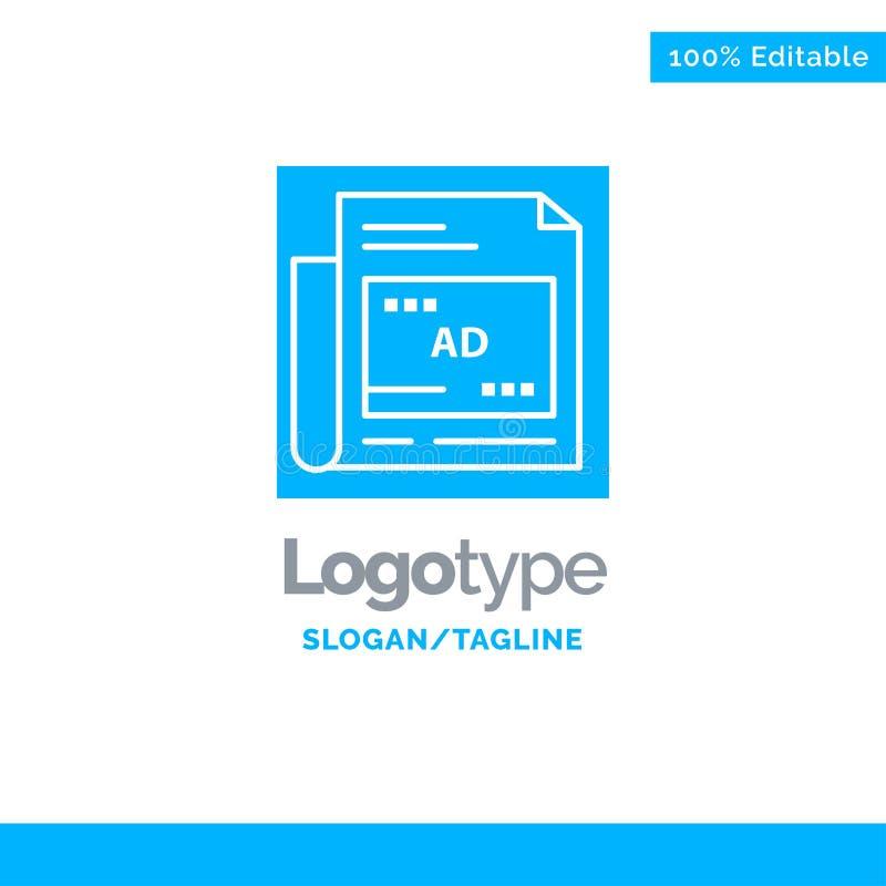Periódico, anuncio, papel, título Logo Template sólido azul Lugar para el Tagline libre illustration