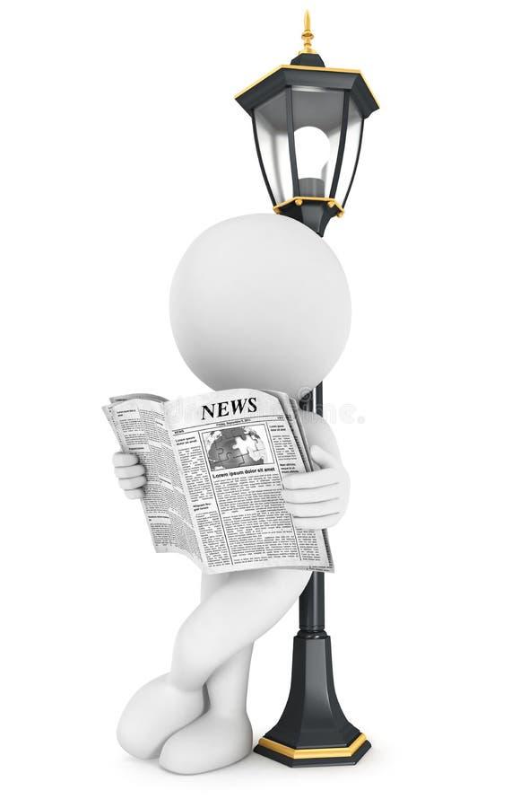 periódico blanco de la lectura de la gente 3d libre illustration