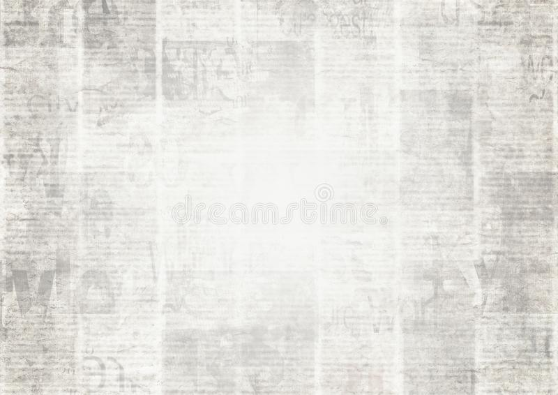 Periódico con el fondo de papel ilegible de la textura del viejo vintage del grunge ilustración del vector