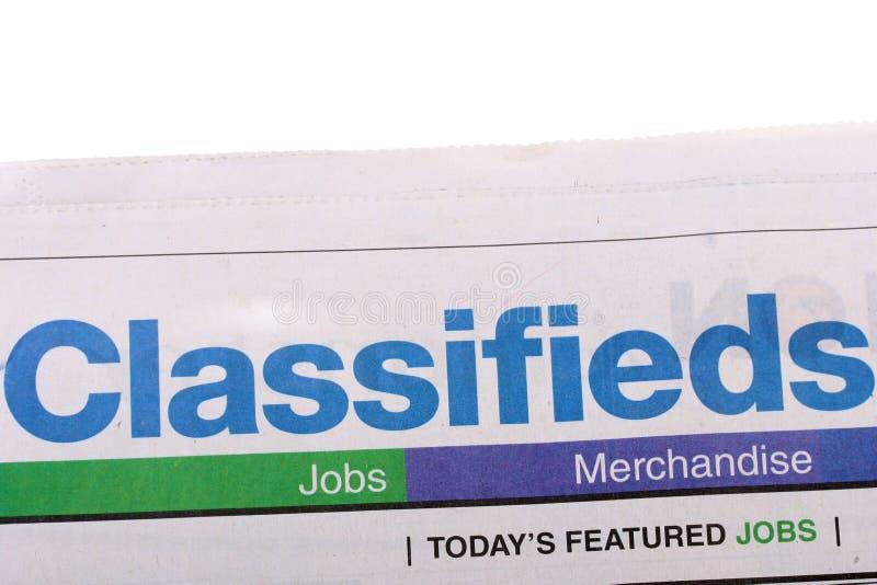 Periódico de Classifieds fotos de archivo libres de regalías