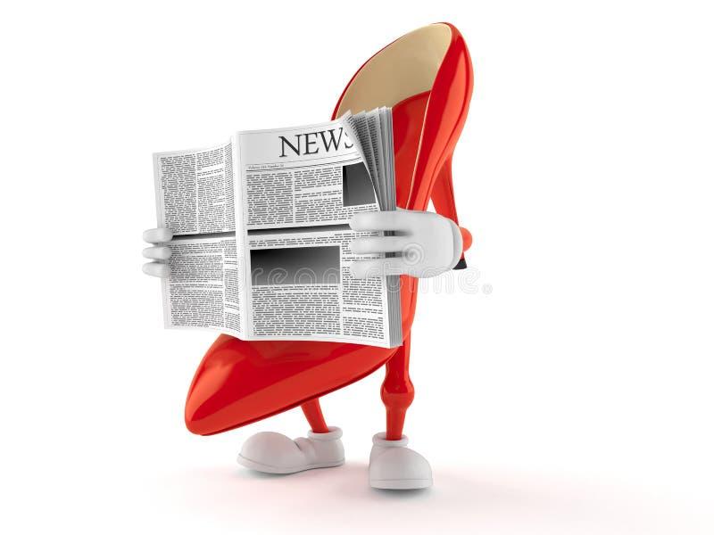 Periódico de la lectura del carácter de los tacones altos imagen de archivo libre de regalías
