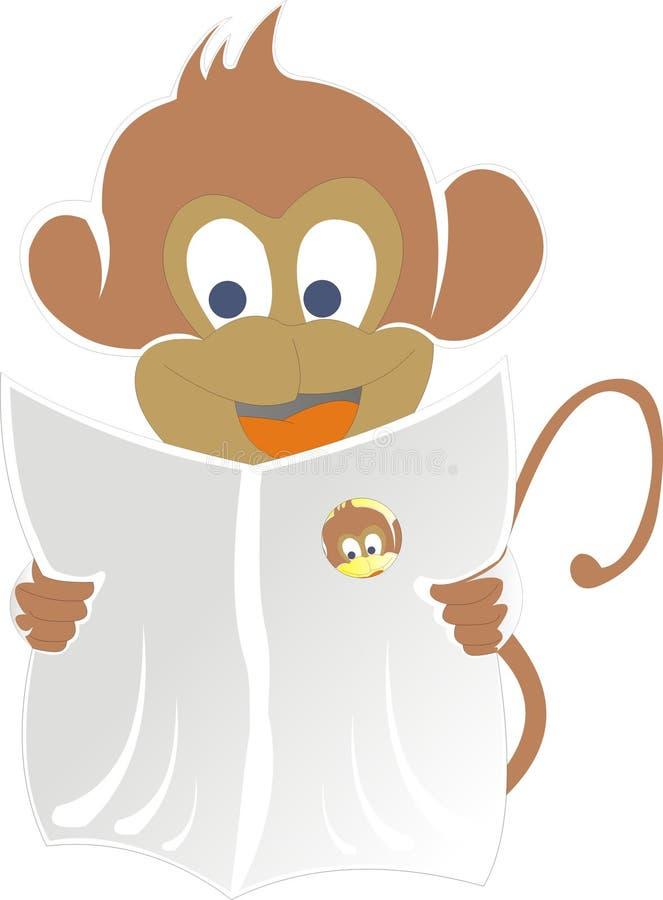 Periódico de la lectura del mono imagen de archivo libre de regalías