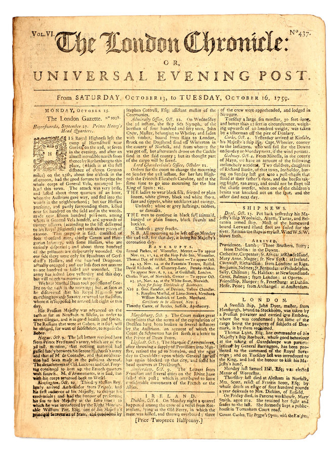 Periódico de la vendimia de 1759 foto de archivo