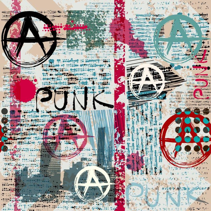 Periódico del Grunge con punky de la palabra ilustración del vector