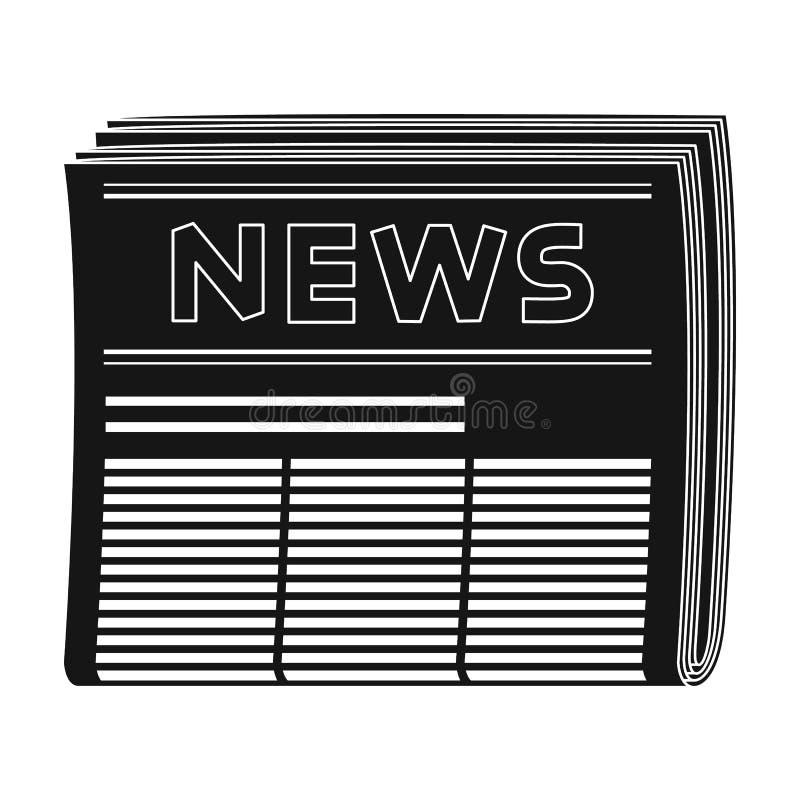 Periódico El solo icono del correo y del cartero en estilo negro vector el web común del ejemplo del símbolo stock de ilustración