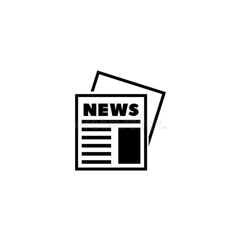 Periódico, icono plano del vector del diario de las noticias libre illustration