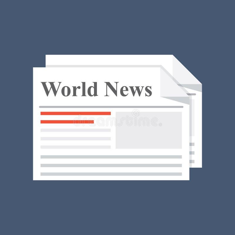 Periódico, noticias de mundo Edición diaria o semanario impresa Medio de la información de papel Ejemplo plano aislado encendido libre illustration