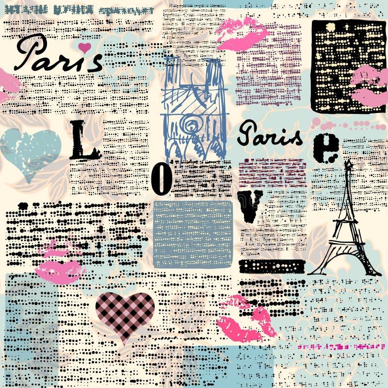 Periódico París con besos libre illustration