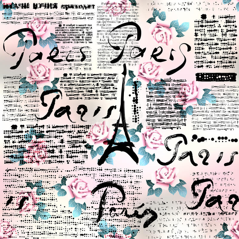 Periódico París con las rosas stock de ilustración