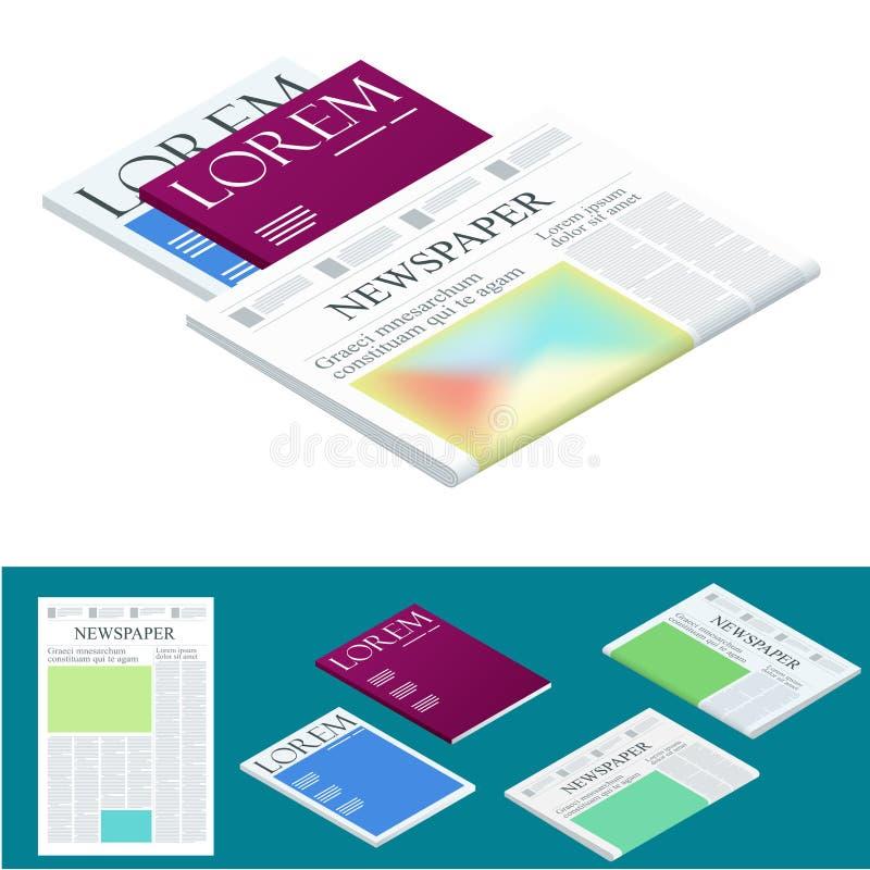 Periódico y revistas en blanco isométricos Asunto y finanzas Plantilla del diseño del diario del periódico Ilustración del vector stock de ilustración