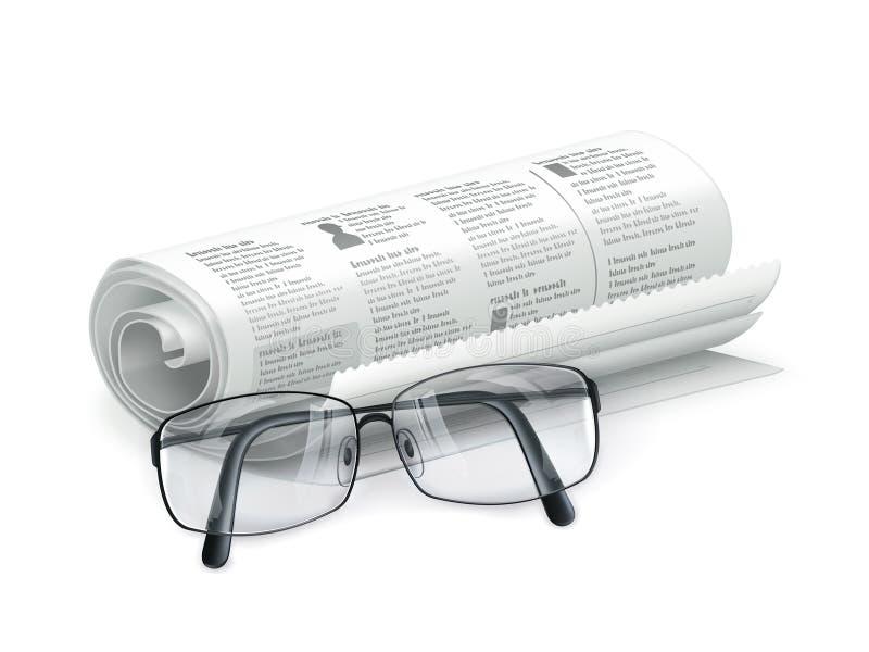 Periódico y vidrios stock de ilustración