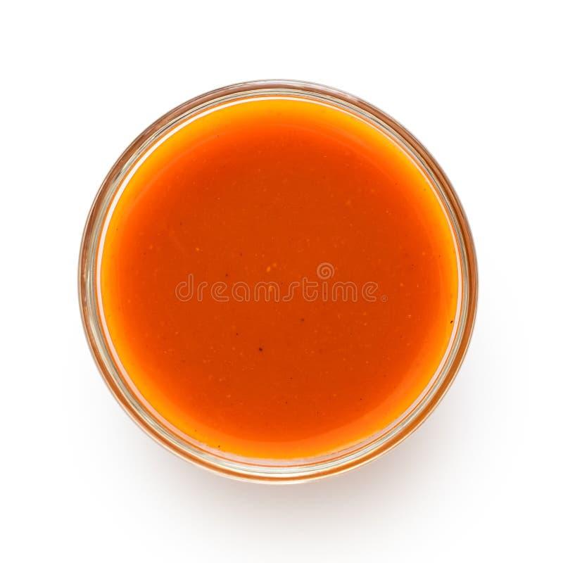 Peri peri chili kumberland w szklanym pucharze odizolowywającym na bielu z góry zdjęcia royalty free