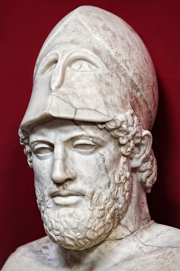 Pericles bust. Ancient marble portrait bust of Greek statesman Pericles stock photography