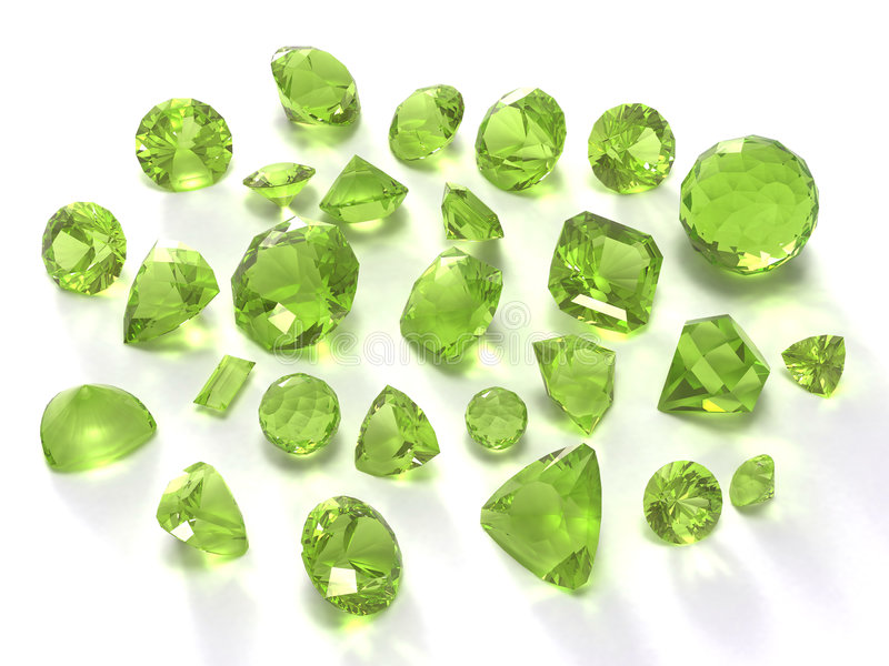 Peridot or chysolite gems vector illustration