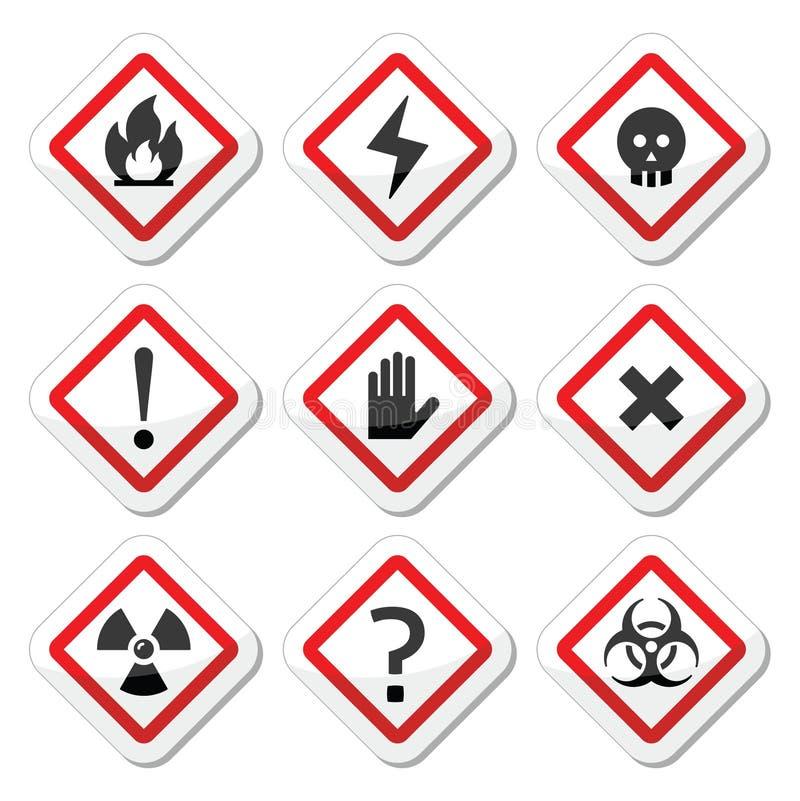Perigo, aviso, ícones quadrados da atenção ajustados ilustração stock