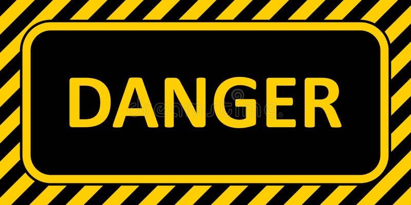 Perigo da bandeira do sinal de aviso, com uma cor amarela e preta horizontal do perigo do texto do crachá do quadro listrado ilustração do vetor
