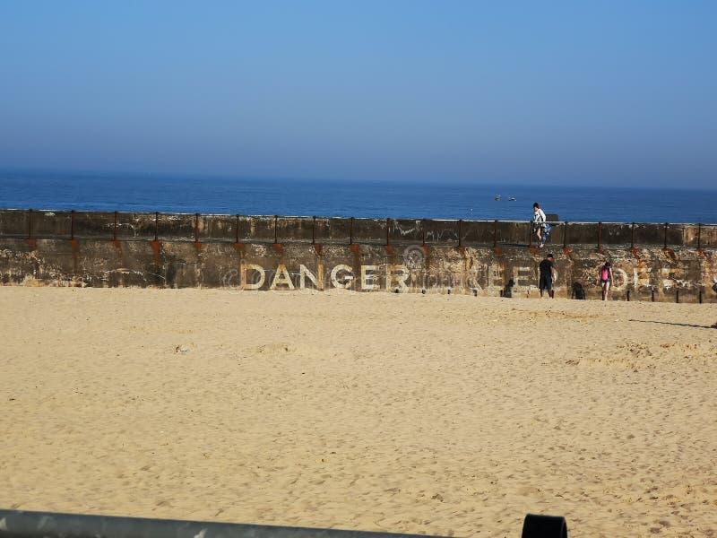 Perigo da praia de Gorleston fotos de stock