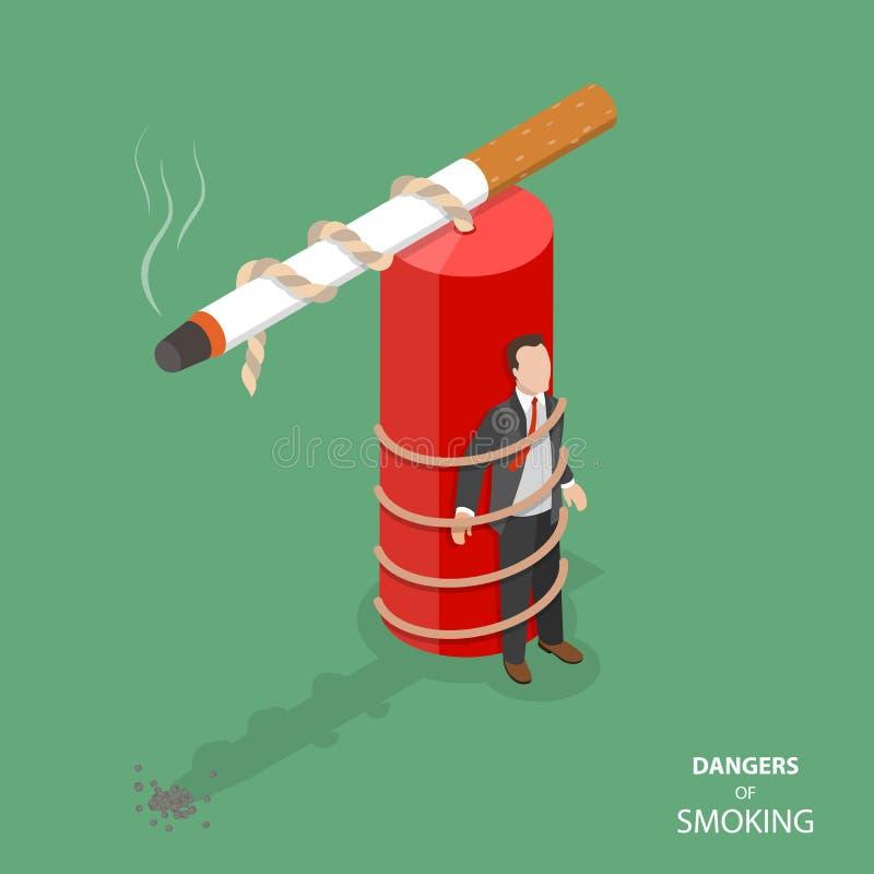 Perigo de fumar o conceito isométrico liso do vetor ilustração royalty free