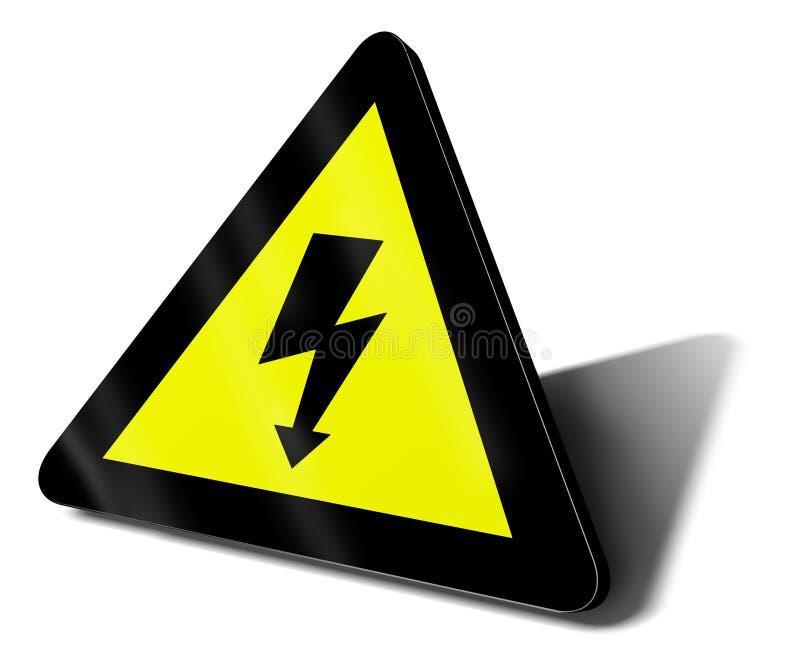 Perigo elétrico do sinal de aviso ilustração royalty free