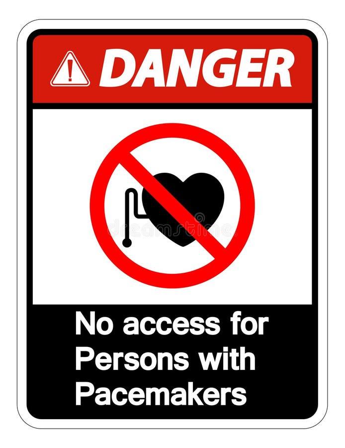 Perigo nenhum acesso para pessoas com o isolado do sinal do símbolo do pacemaker no fundo branco, ilustração do vetor ilustração royalty free