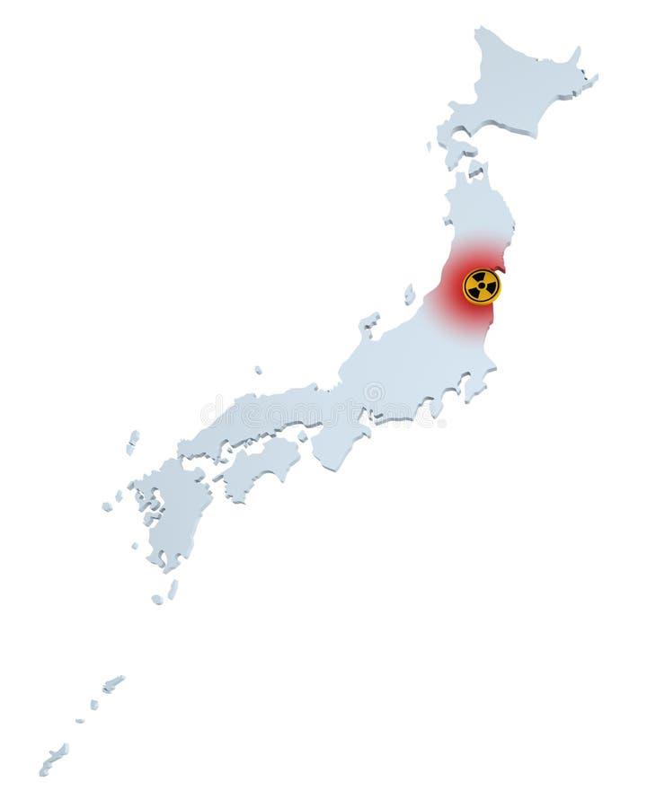 Perigo radioativo de Japão. ilustração do vetor