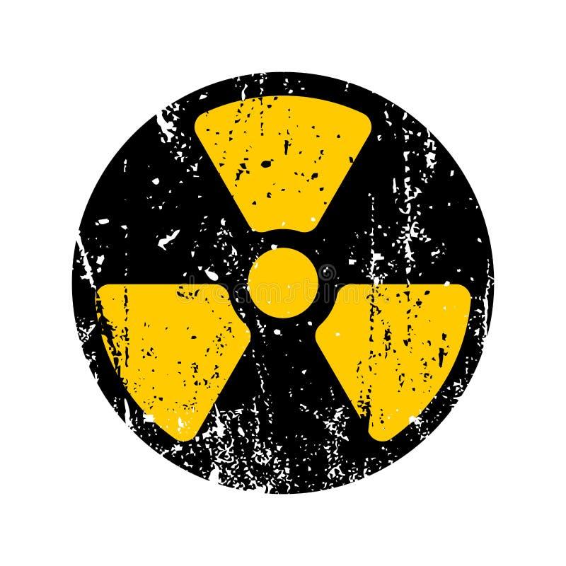 Perigo radioativo do sinal velho Símbolo tóxico retro gasto GR do perigo ilustração stock