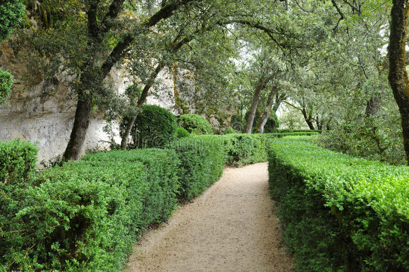 Perigord, the picturesque garden of Marqueyssac in Dordogne. France, the picturesque garden of Marqueyssac in Dordogne stock images