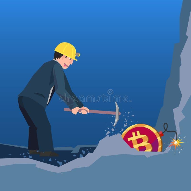 Perigos da mineração de Bitcoin ilustração do vetor