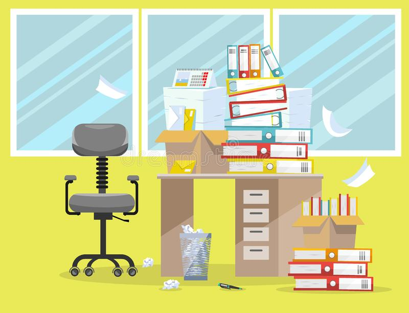 Period of accountants and financier reports submission. Pile of paper documents and file folders in cardboard boxes on office stock illustration