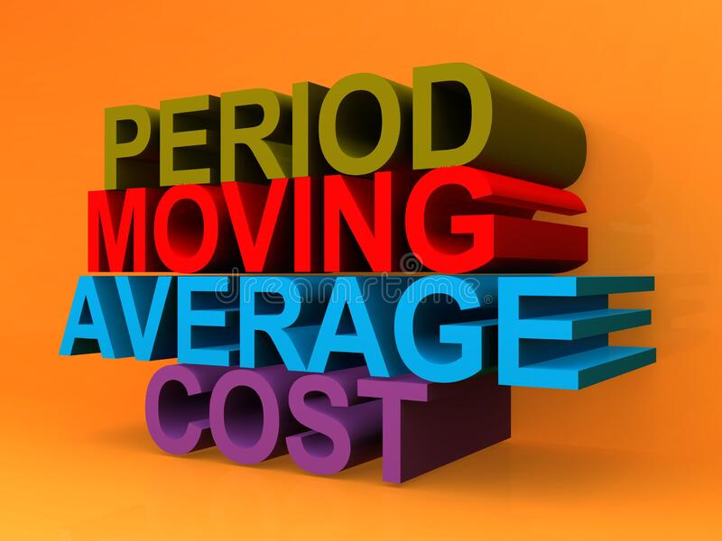 Period moving average cost. On orange background stock illustration