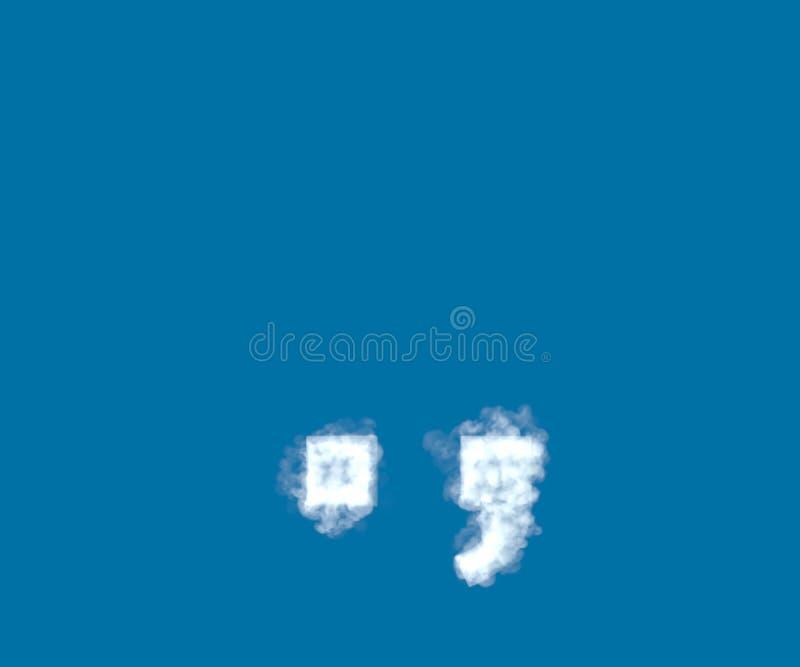 Periodepunt en komma die van lichte witte wolk op blauwe hemelachtergrond wordt gemaakt, bewolkt alfabet - 3D illustratie van sym stock illustratie