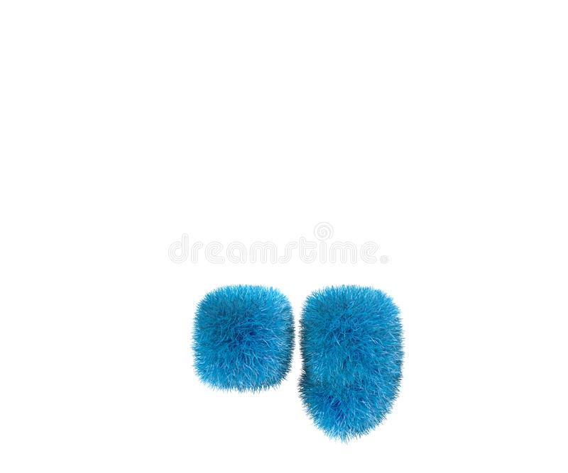 Periodepunt en komma van blauwe belachelijke wolachtige doopvont die op witte achtergrond, 3D illustratie van het jonge geitjesco royalty-vrije illustratie