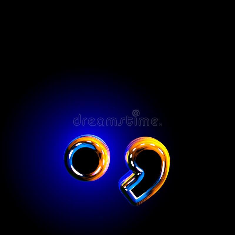 Periodepunt en komma van glazig donkerblauw opgepoetst die alfabet op zwarte achtergrond wordt geïsoleerd - 3D illustratie van sy vector illustratie