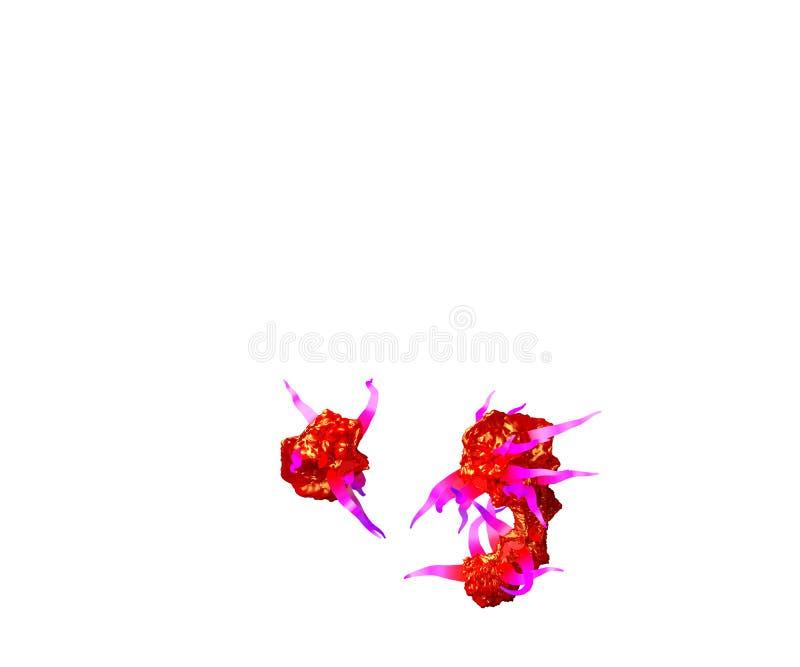 Periodepunt en komma van griezelige monsterlijke doopvont - rood slijm met purpere die tentakels op witte 3D achtergrond worden g vector illustratie
