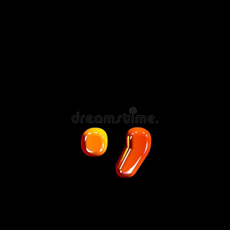 Periodepunt en komma van plastic oranje glanzende doopvont die op zwarte achtergrond wordt geïsoleerd - 3D illustratie van symbol royalty-vrije illustratie