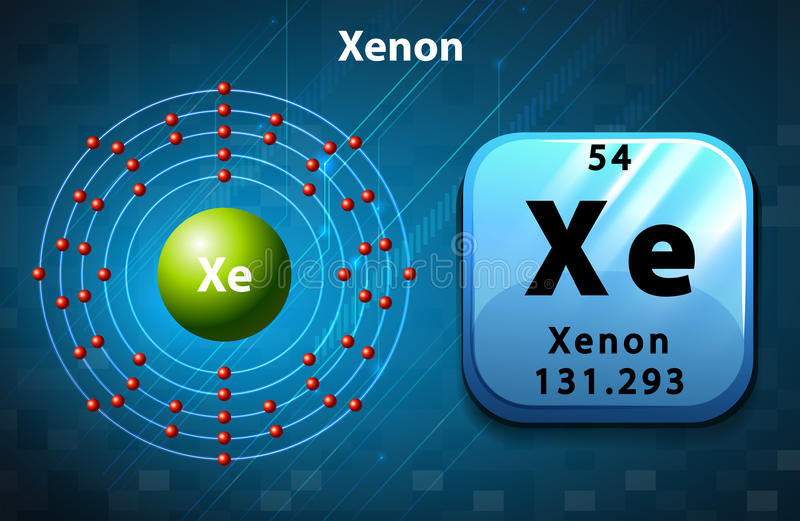 Periodic symbol and diagram of Xenon vector illustration