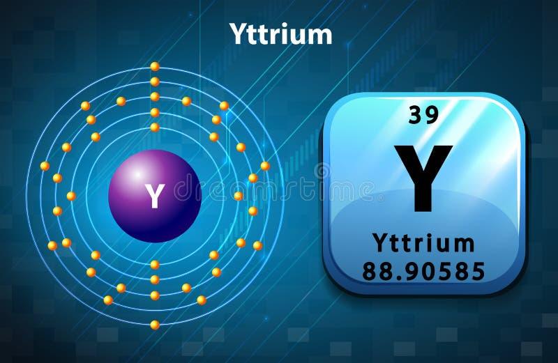 Periodic symbol and diagram of Yttrium stock illustration