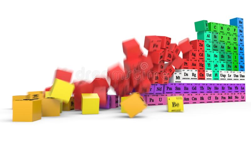 Periodic Table Concept With Falling Cubes  3d Illustration