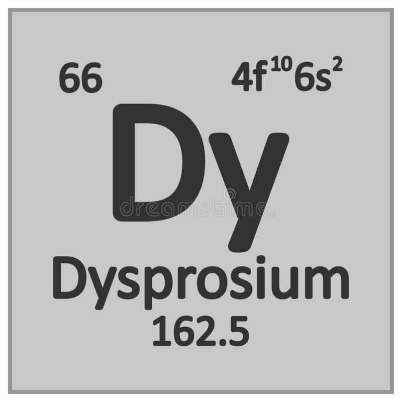 Periodic table element dysprosium icon vector illustration
