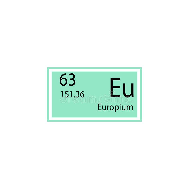 Periodic table element europium icon. Element of chemical sign icon. Premium quality graphic design icon. Signs and symbols collec royalty free illustration