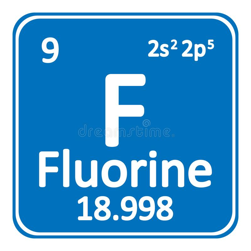 Periodic Table Element Fluorine Icon Stock Illustration