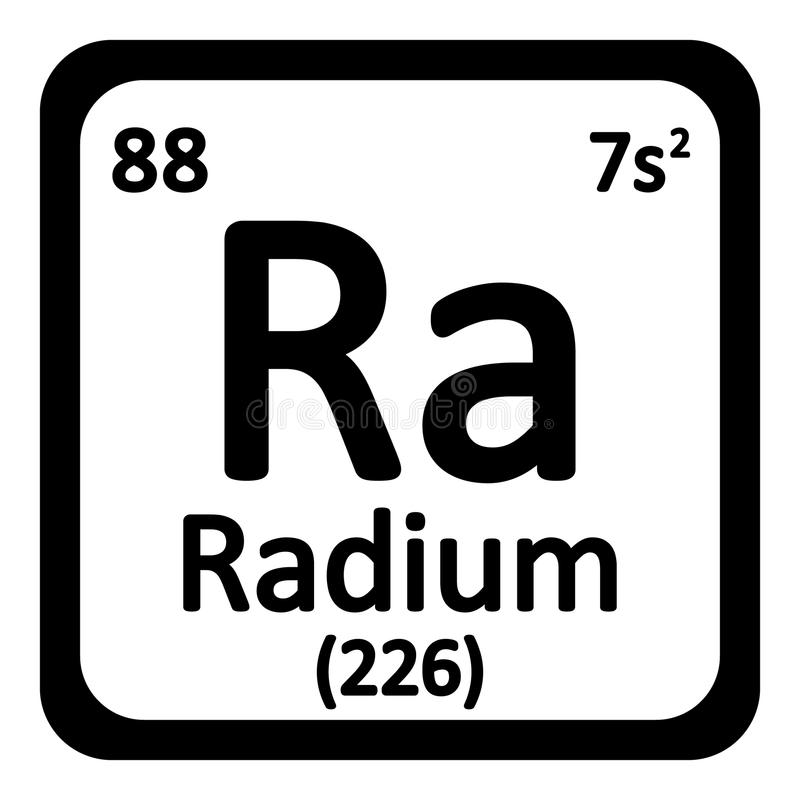 Periodic table element radium icon. royalty free illustration