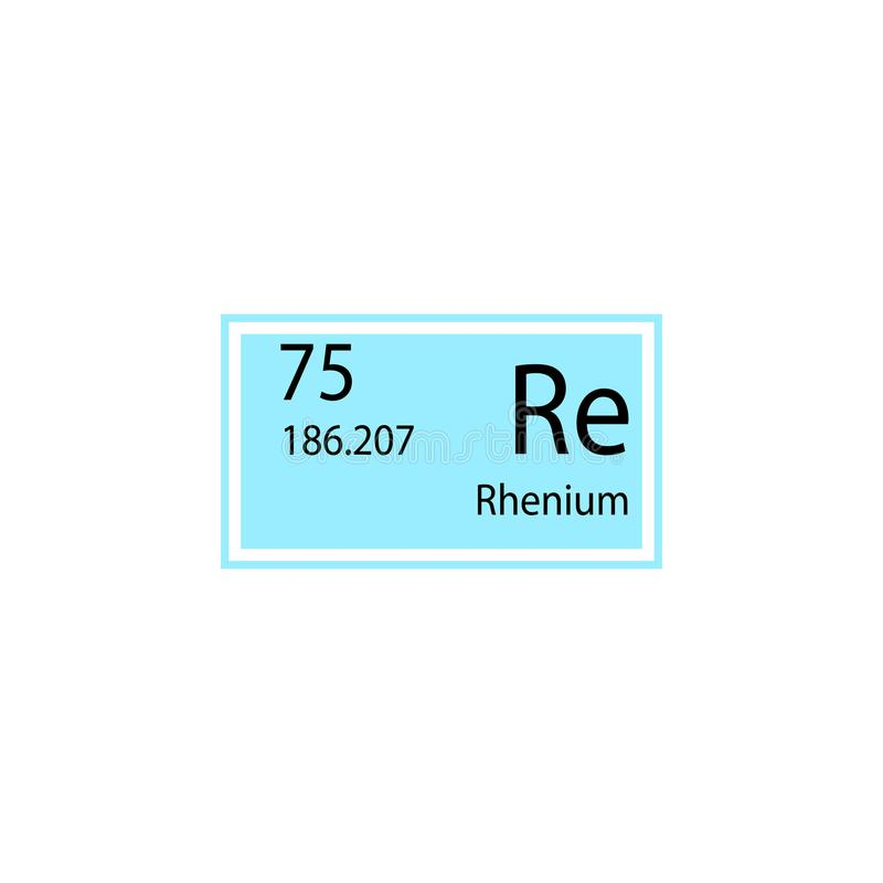 Periodic table element rhenium icon. Element of chemical sign icon. Premium quality graphic design icon. Signs and symbols collect stock illustration