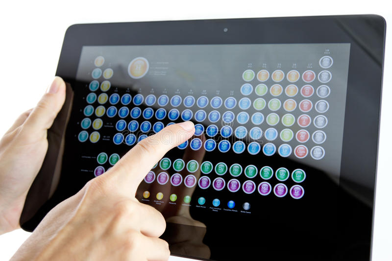 Periodic table on screen royalty free stock photo