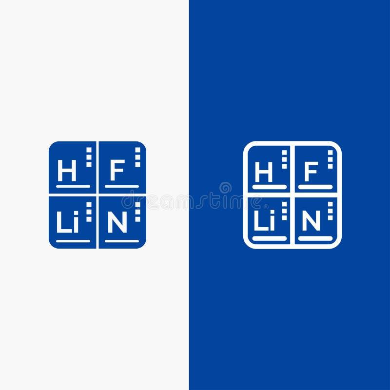 Periodico, Tabella, elementi, insegna blu di insegna dell'icona solida medica di glifo e della linea dell'icona solida blu della  royalty illustrazione gratis