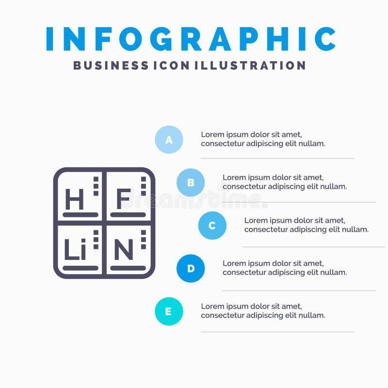 Periodico, Tabella, elementi, linea medica icona con il fondo di infographics di presentazione di 5 punti illustrazione di stock